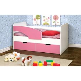 Кровать детская «Дельфин», 2 ящика, 800 × 1600 мм, левая, цвет белый / ярко-розовый