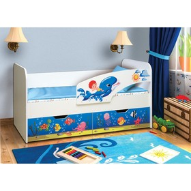 Кровать детская с фотопечатью «Дельфин», 2 ящика, 800 × 1600 мм, правая, цвет корпус белый