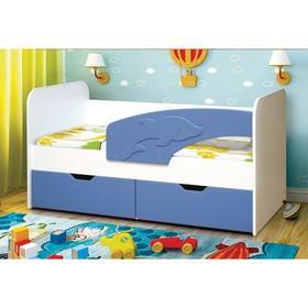 Кровать детская «Дельфин», 2 ящика, 800 × 1600 мм, правая, цвет белый / синий матовый