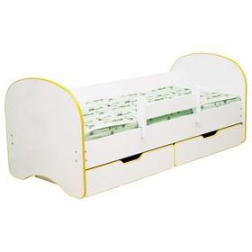 Кровать детская с бортом «Радуга», 2 ящика, 800 × 1900 мм, цвет белый / кант жёлтый