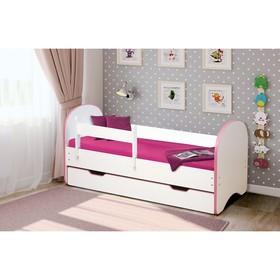 Кровать детская с бортом «Радуга», 1 ящик, 700 × 1400 мм, цвет белый / кант светло-розовый