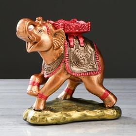 """Статуэтка """"Слон с седлом"""" цветная бронза, 26 см, микс"""