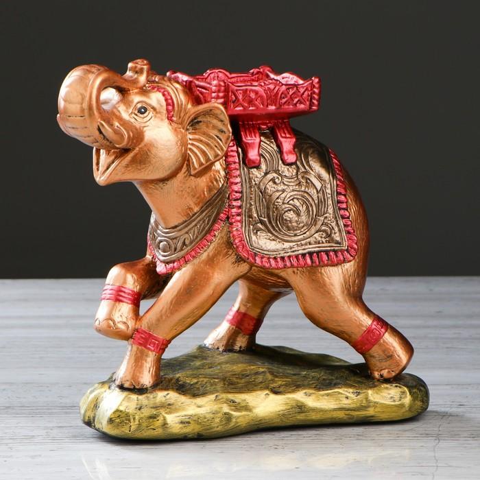 """Статуэтка """"Слон с седлом №2"""" цветная бронза, 26 см"""
