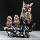 """Статуэтка """"Три совы на ветке"""" цвет бронзовый, 36 см"""