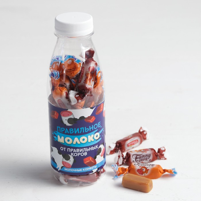 """Молочные конфеты в бутылке """"Правильное молоко"""", 200 г"""