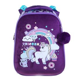 Рюкзак каркасный Hatber Ergonomic 37 х 29 х 17 см, для девочки, «Волшебный единорог», сиреневый