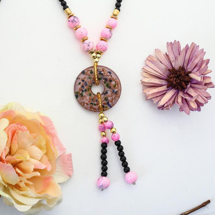 """Кулон """"Муранское стекло"""", форма МИКС с подвесками, цвет розовый, 80 см"""