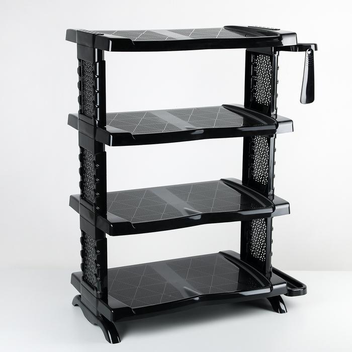 Полка для обуви с ложкой «Комфорт», 4 яруса, 56×32×70 см, цвет чёрный
