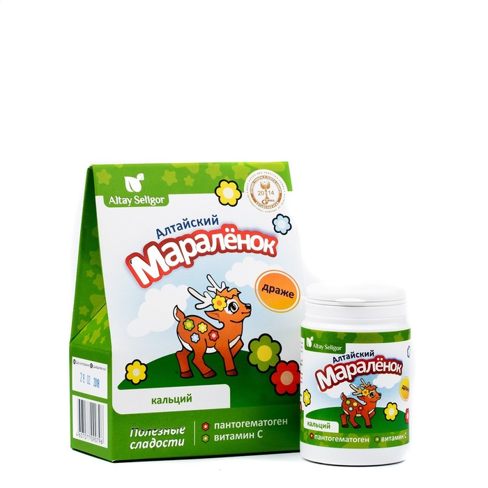 Драже для детей Altay Seligor «Алтайский маралёнок» с пантогематогеном, витамином С и кальцием, 70 г