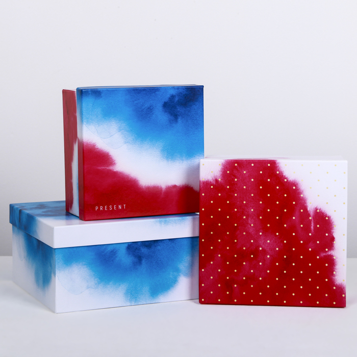 Набор подарочных коробок 3 в 1 «Воздух», 18 × 18 × 10‒22 × 22 × 12 см