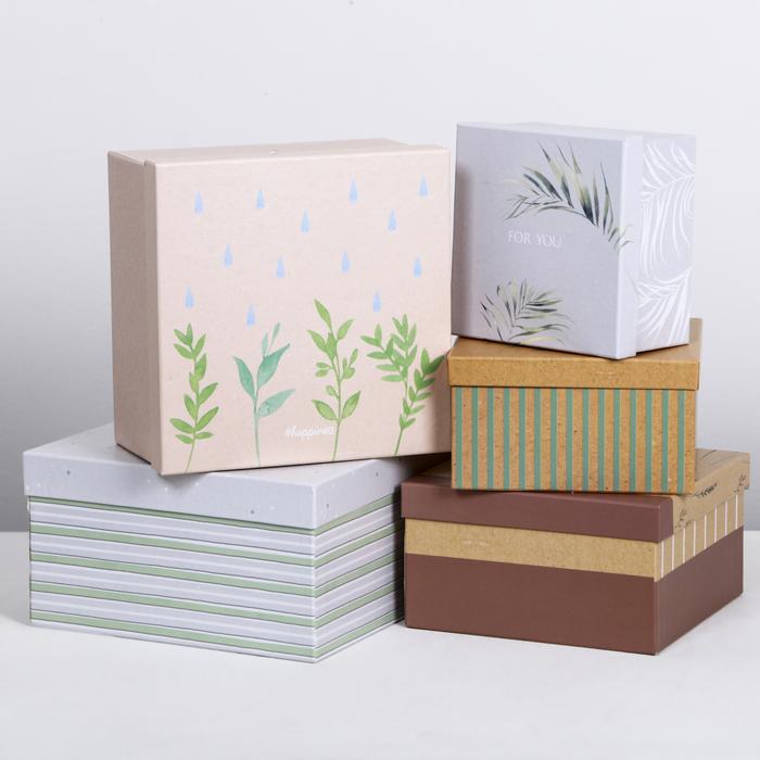 Набор подарочных коробок 5 в 1 «Эко», 14 × 14 × 8‒22 × 22 × 12 см