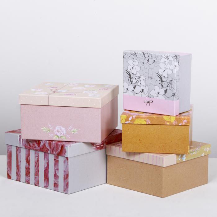 Набор подарочных коробок 5 в 1 «Нежные узоры», 14 × 14 × 8‒22 × 22 × 12 см