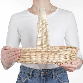 Корзина продуктовая, 37×16×8/27 см, ручное плетение, ива