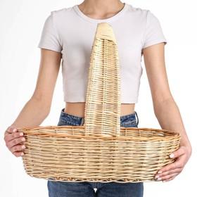 Корзина продуктовая, 52×31×14/45 см, ручное плетение, ива