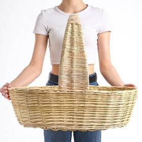 Корзина продуктовая, 62×41×18/50 см, ручное плетение, ива
