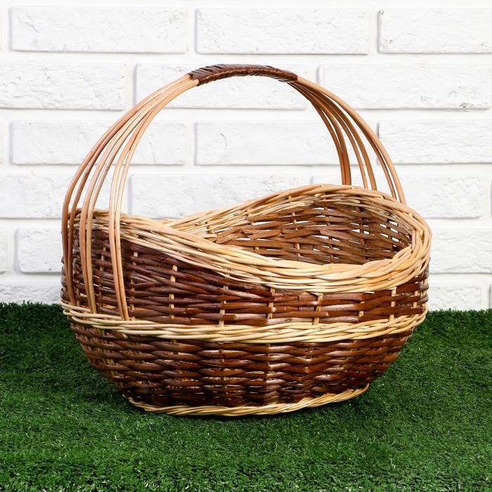 Корзина «Урожай», 36×36×18/23/34 см, ручное плетение, ива