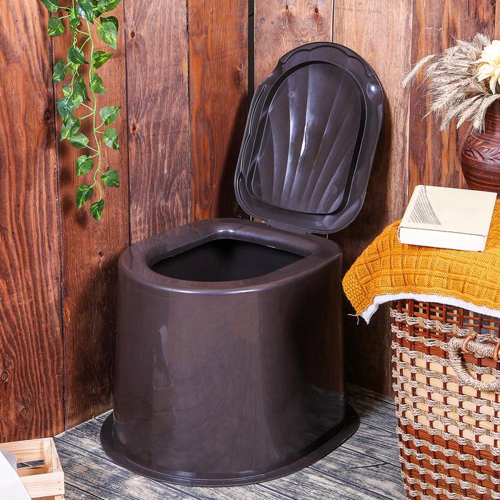 Туалет дачный, h = 35 см, без дна, с креплением к полу, коричневый