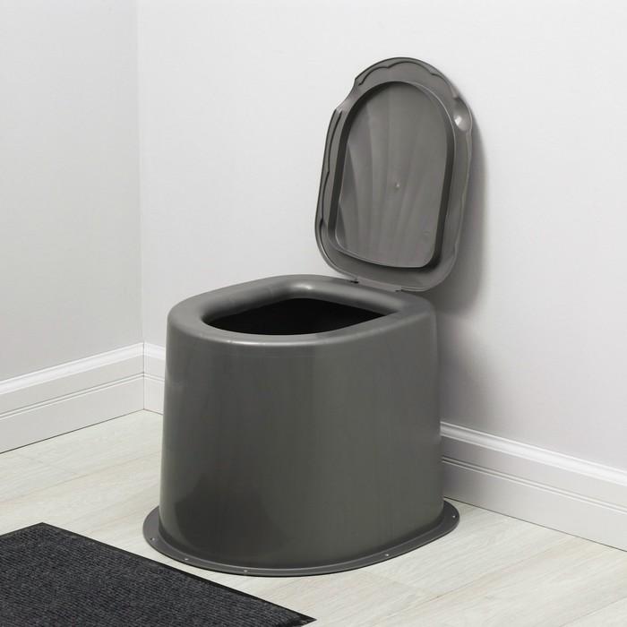 Туалет дачный, h = 35 см, без дна, с креплением к полу, серый