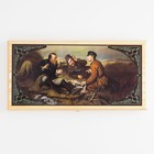 """Backgammon """"Hunters at rest"""", wood Board 40x40 cm, with the field for a game of checkers"""