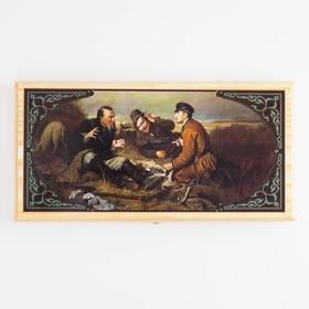 """Нарды  """"Охотники на привале"""", деревянная доска 40х40 см, с полем для игры в шашки в Донецке"""