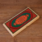 """Backgammon """"Green pattern"""", wood Board 40x40 cm, with the field for a game of checkers"""