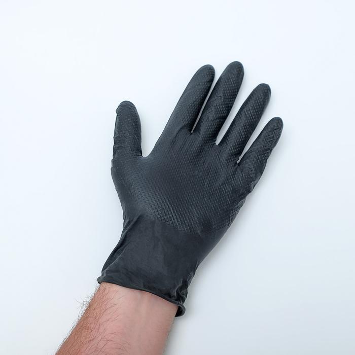 Перчатки нитриловые неопудренные, размер XL, Black sapfir, 50 шт/уп, цвет чёрный