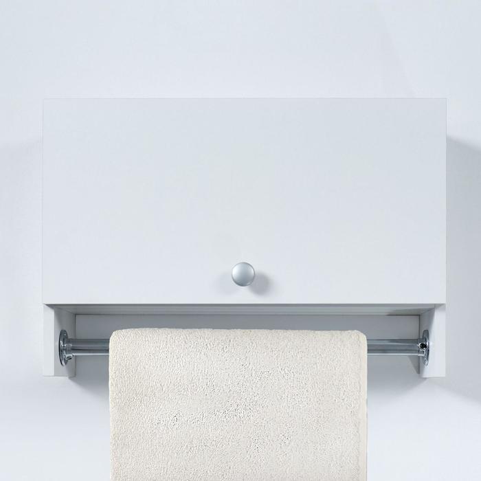 Шкаф подвесной со штангой для полотенец, с дверцами, белый, 60 х 15,4 х 40 см