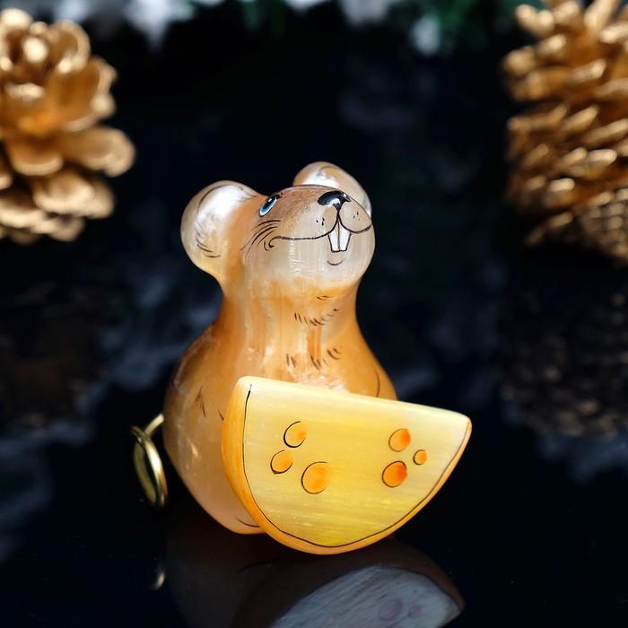 Сувенир «Мышка с сыром», 5×6 см, селенит