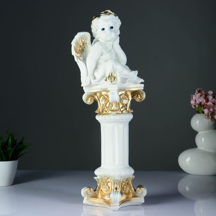 "Фигура ""Ангел на колонне сидя"" перламутр-золото 54х17х20см"