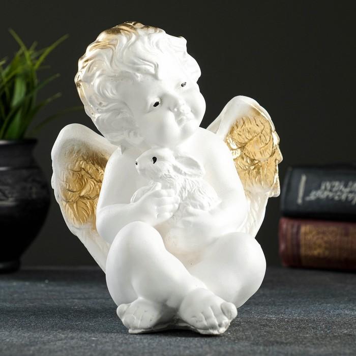 "Фигура ""Ангел с кроликом"" белый 19х16х14см"