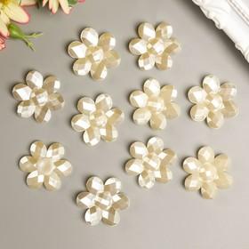 "Decor for creative plastic ""Daisy"" pearl set 10 PCs 0,2x2,7x2,7 cm"
