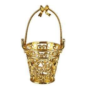 "Bucket delicate, ""Monogram"" size: 1 PCs 7*7*8, color gold"