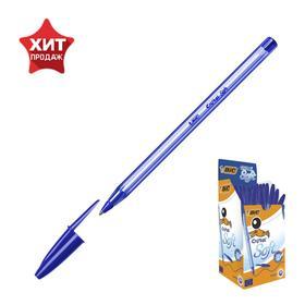 Ручка шариковая, синяя, среднее письмо, прозрачный корпус, BIC Cristal Soft