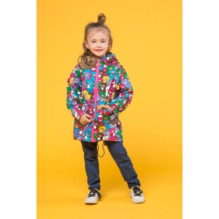 Куртка-парка для девочки, принт мишки, 122 см
