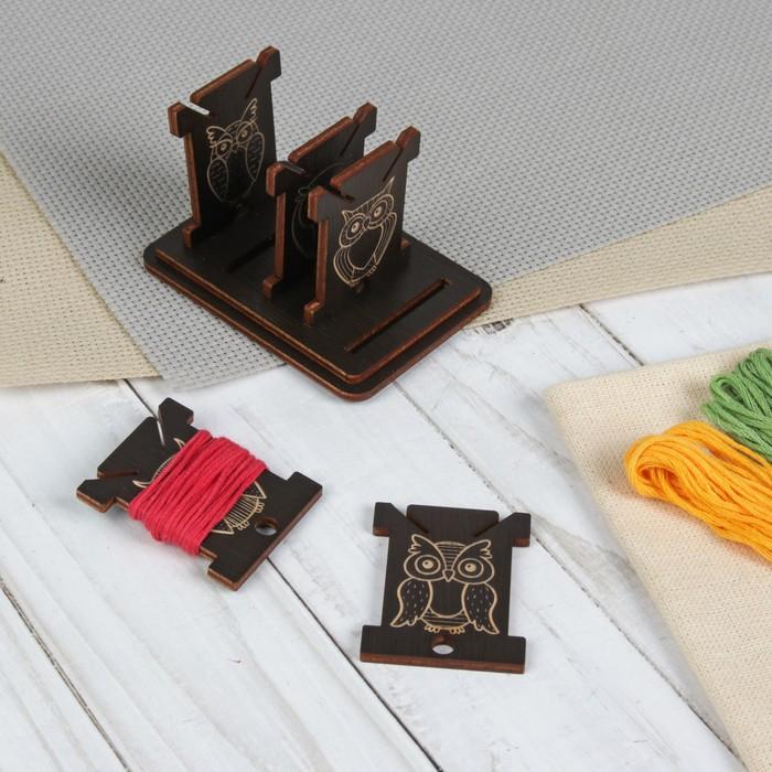 Бобины для ниток «Совы», на подставке, 4,5 × 8 × 5 см, 5 шт