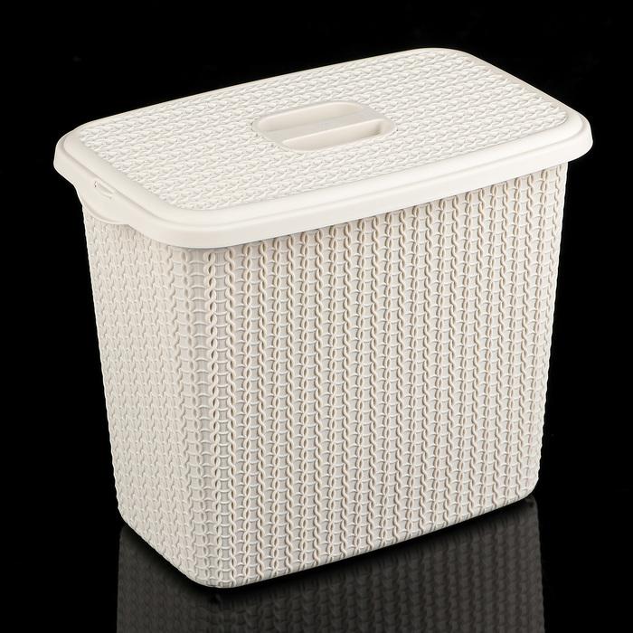 """Контейнер для стирального порошка 6 л """"Вязание"""", цвет белый ротанг"""