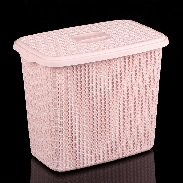 """Контейнер для стирального порошка 6 л """"Вязание"""", цвет чайная роза"""