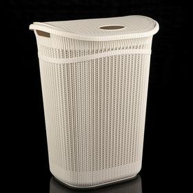Корзина для белья с крышкой «Вязание», 55 л, 45×36×57 см, цвет белый ротанг