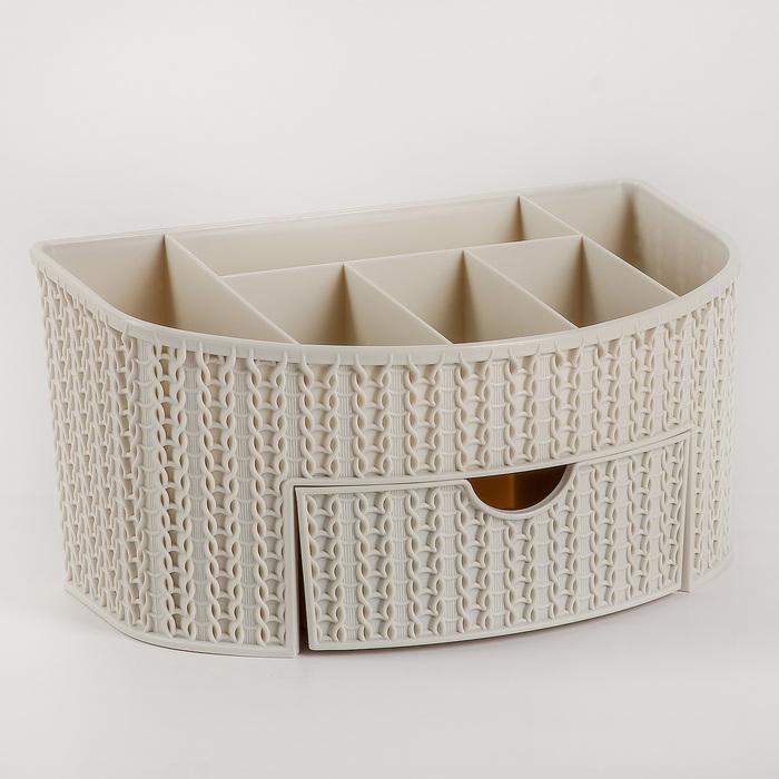 Органайзер IDEA «Вязание», с ящиком, цвет белый ротанг - фото 305495603