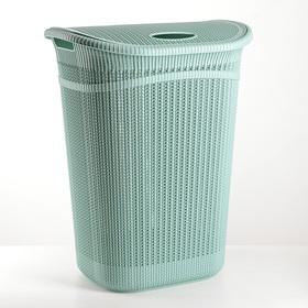 Корзина для белья с крышкой «Вязание», 55 л, 45×36×57 см, цвет фисташковый