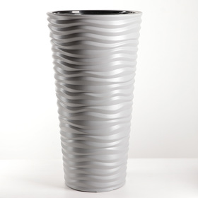 Кашпо со вставкой «Дюна», 42 л (8 л), цвет серый