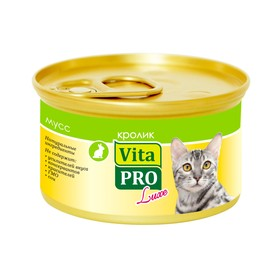 Влажный корм VitaPRO Luxe для кошек, кролик,  мусс, ж/б, 85 г