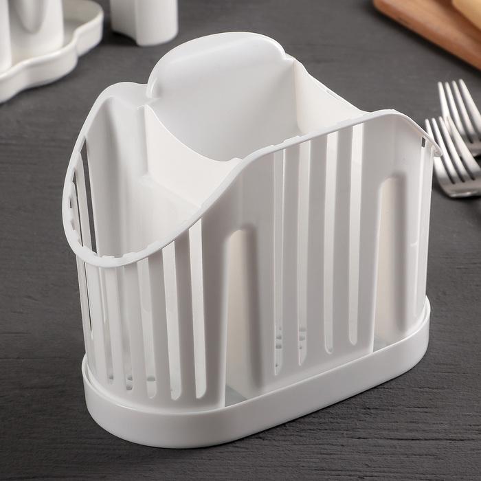 Сушилка для столовых приборов 3-х секционная, цвет белый - фото 308018002