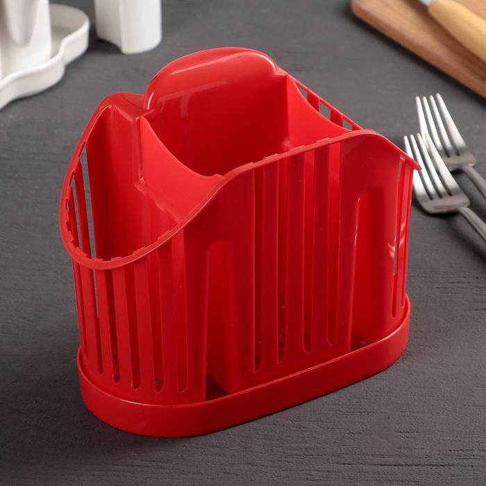 Сушилка для столовых приборов 3-х секционная, цвет красный