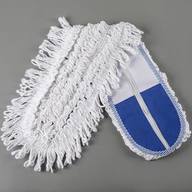 Насадка для плоской швабры, 80×14 см, х/б, цвет бело-синий - фото 4647578