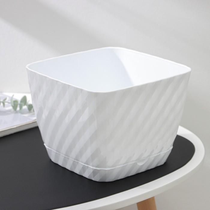 Кашпо с поддоном «Классика», 4,5 л, цвет белый
