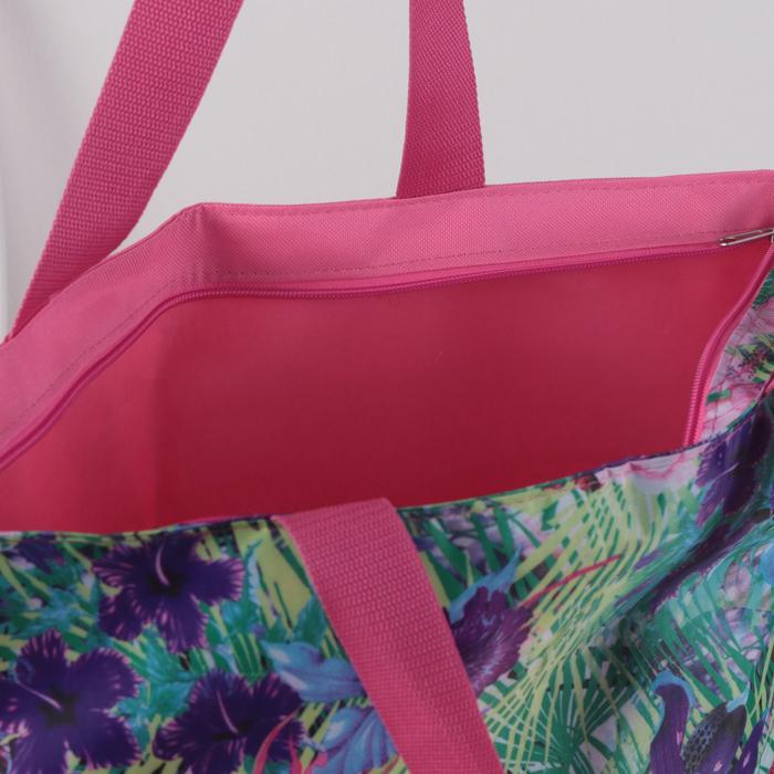 Сумка пляжная, отдел на молнии, без подклада, цвет розовый/бирюзовый