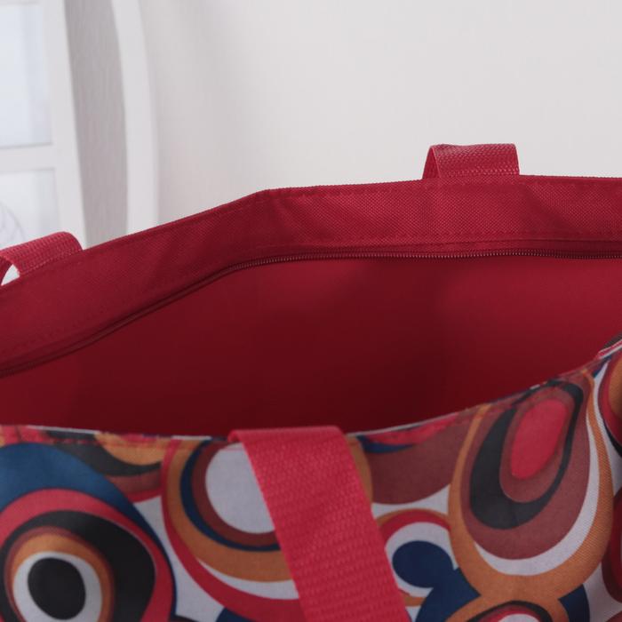 Сумка пляжная, отдел на молнии, без подклада, цвет красный
