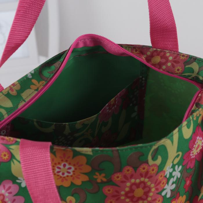 Сумка летняя, отдел на молнии, без подклада, цвет розовый/зелёный