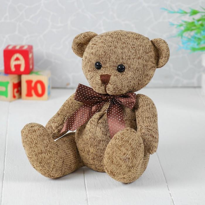Мягкая игрушка «Мишка с бантом», 20 см, цвет коричневый
